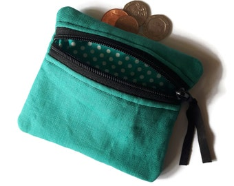 Turquoise coin purse, Linen change purse, coin pouch