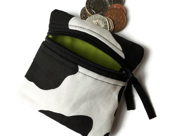 Cow coin purse, cow print change purse, small zipped pouch