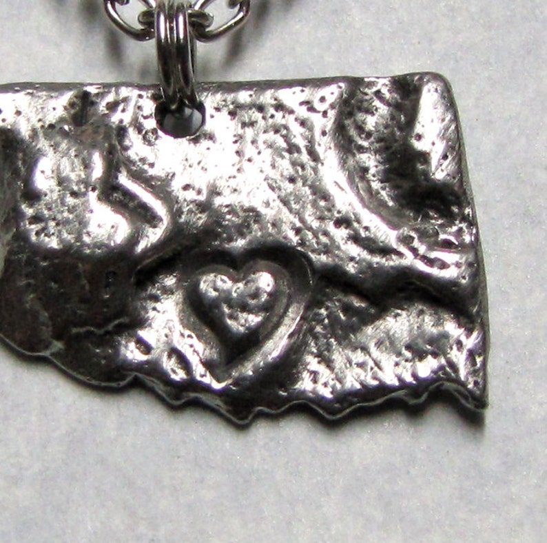 Oklahoma Love State Geology Necklace Pendant /' Stainless Steel Soldered Chain /'