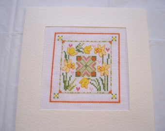 Handstitched Greeting Card--Daffodils and Yellow Tulips