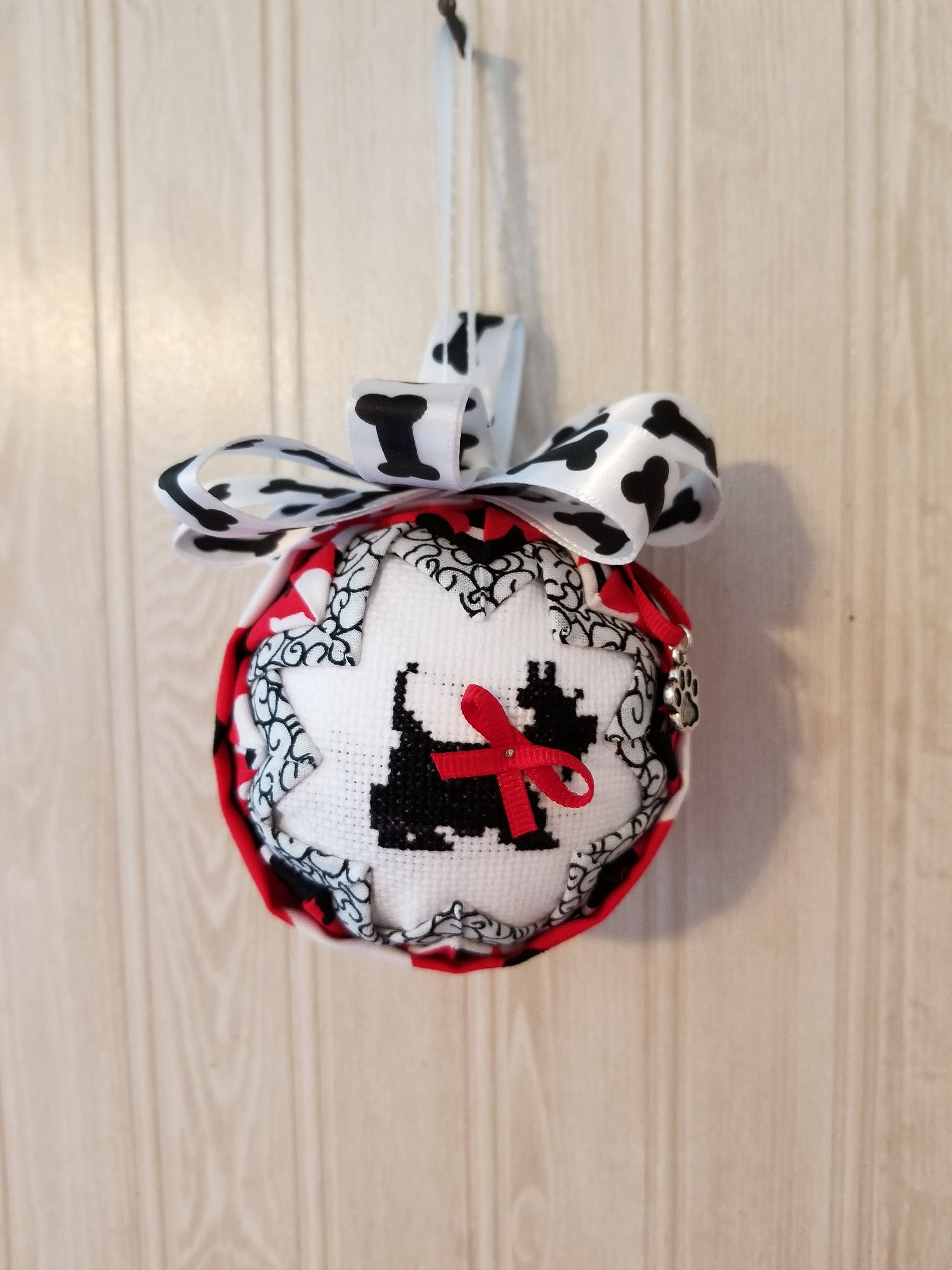 Scottish Terrier Dog Hand-stitched Fabric Ornament