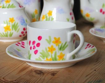 Meadow flowers teacup and saucer hand painted china teacup pretty floral teaset