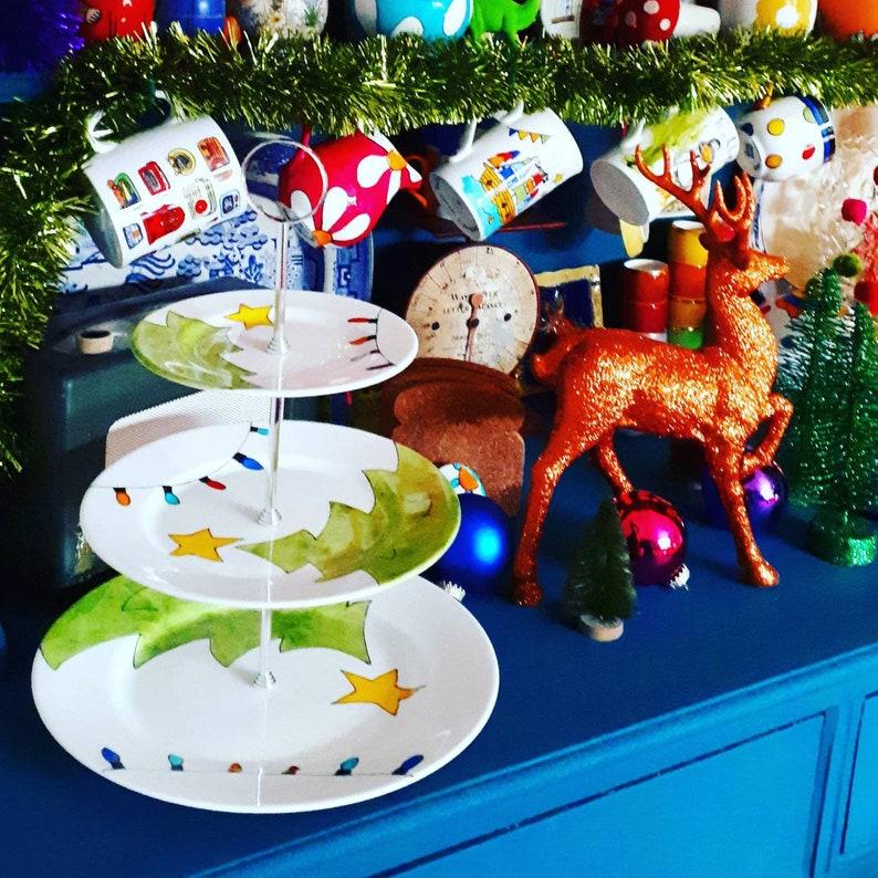 Retro Christmas colourful cake stand Christmas centrepiece vintage christmas