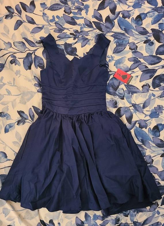 Unique Vintage 1950s Navy Scalloped Party Dress
