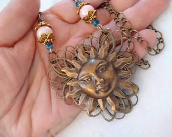 Gothic Celtic Sun Necklace, Victorian Celestial Necklace, Mystical Sun Pendant, Sun Talisman, Sun Amulet, Sun Jewelry, Sun Goddess Necklace
