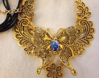 Butterfly Statement Necklace, Victorian Butterfly Jewelry, Gold Retro Butterfly Bib Necklace with a Blue Enamel Stone, Boho Butterfly