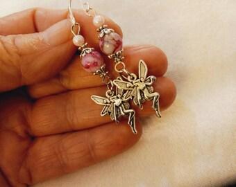 Pink Fairy Earrings, Silver Fairy Earrings, Brushed Silver Fae Earrings, Boho Fairy Earrings, Fairy Drop Earrings, Victorian Fairy Earrings