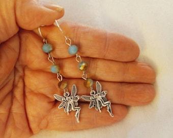 Aqua Fairy Earrings, Silver Fairy Earrings, Brushed Silver Fae Earrings, Boho Fairy Earrings, Fairy Drop Earrings, Victorian Fairy Earrings