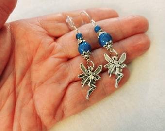 Blue Fairy Earrings, Silver Fairy Earrings, Brushed Silver Fae Earrings, Boho Fairy Earrings, Fairy Drop Earrings, Victorian Fairy Earrings