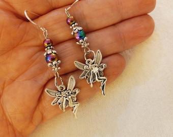 Fairy Earrings, Silver Fairy Earrings, Brushed Silver Fae Earrings, Boho Fairy Earrings, Fairy Drop Earrings, Victorian Fairy Earrings, Fae