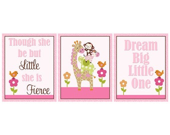 Set of 3 Unframed  Jungle Jill Girl Stacked Animals with Quotes  8x10 inch Linen Look Nursery Wall Art Prints Baby Children Decor  sc 1 st  Etsy & Jungle jill nursery | Etsy