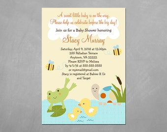 """Frog in the Pond Turtle Ducks"""" Customized Personalized Printable Baby Shower Party Invitation U Print Yourself"""