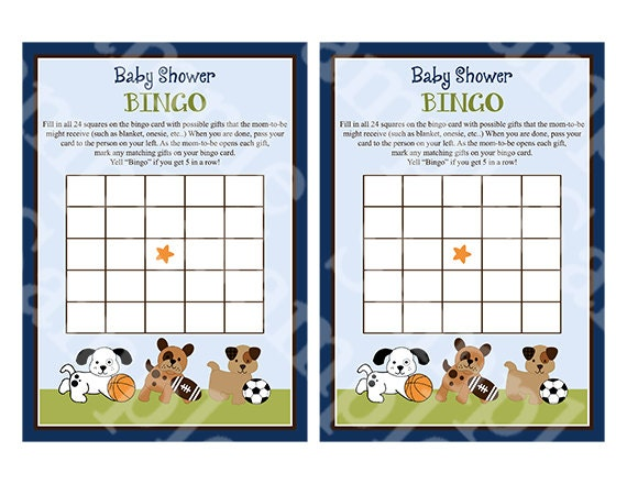 Printable Bow Wow Sport Puppies Baby Bingo Cards Etsy