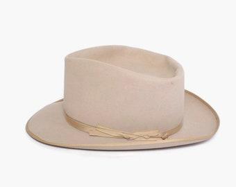 a2ea22250181fe Vintage 50s STETSON Sovereign Fedora / 1950s Men's Light Tan Beige Felt Hat  7 1/4