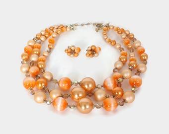 Vintage 60s Vendome NECKLACE Set / 1960s Signed Triple Strand Necklace & Earrings