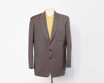 Vintage 50s Men's Blazer / 1950s Gray Blue Fleck Sharply Tailored Wool Gab Suit Jacket L 44