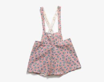 Vintage 40s Deadstock Romper / 1940s Unworn Pink Feedsack Floral Overalls Jumper Onesie 4T