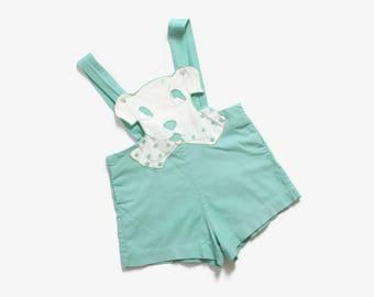 Vintage 40s Puppy Romper / 1940s Mint Green Embroidered Puppy Onesie Short Suit Kids 2T
