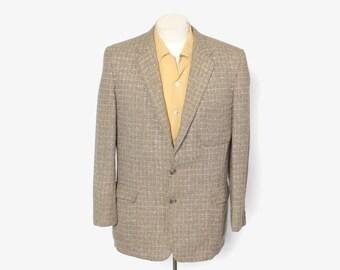 Vintage 50s 2-Tone Men's Blazer / 1950s Brown & Tan Lightweight Wool Jacket M 40