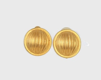 Vintage GIVENCHY Earrings / 1980s Matte Gold Designer Button Clip Earrings