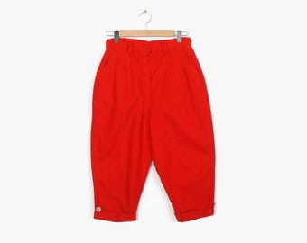 836eb5f88d6 Vintage 60s PEDAL PUSHERS   1960s High Waist RED Cotton Rockabilly Capri  Pants M