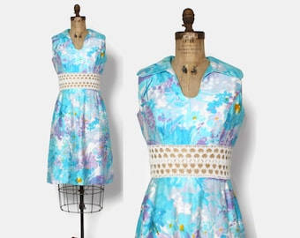 867d285d084 Vintage 60s Crochet Cut-Out Dress   1960s Pulitzer Style Pastel Cotton Dress