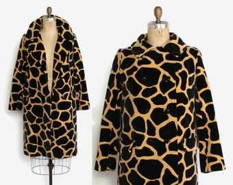 d42095010a Vintage 60s Giraffe Print COAT   1960s Velvet Printed Mod Double Breasted  Coat