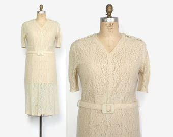 Vintage 30s Lace DRESS / 1930s Ivory Floral Lace Belted Dress Casual Wedding L