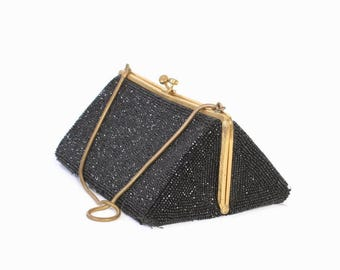 Vintage 60s BEADED PURSE / 1960s Black Walborg Triangle Shaped Cocktail Box Bag