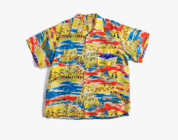Vintage 50s Silk Hawaiian Shirt / 1950s Men's Cisc