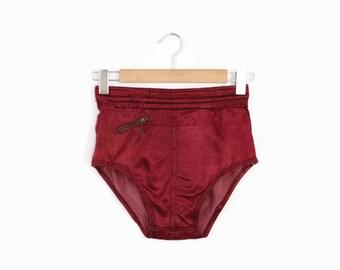 Vintage 40s Satin SWIM TRUNKS / 1940s High Waist Burgundy Swimwear