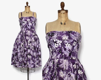 Vintage 50s Hawaiian Print Dress / 1950s Purple Cotton Convertible Strapless Sun Dress M