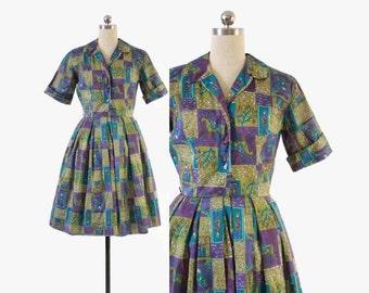 Vintage 50s NOVELTY DRESS / 1950s Siamese Indian Print Shirtwaist Full Skirt Day Dress S