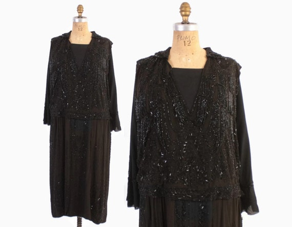 Vintage 20s BEADED Dress / 1920s Heavily Beaded Si