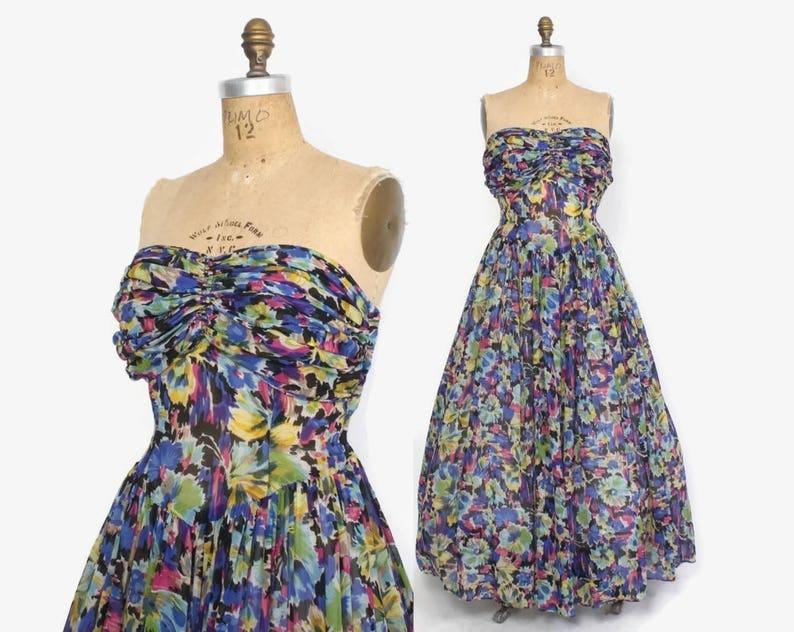 Vintage 40s Strapless Floral DRESS / 1940