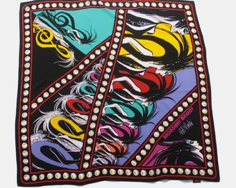 Vintage Bob Mackie SCARF / Signed Broadway Melody Bright Extra Large Silk Scarf