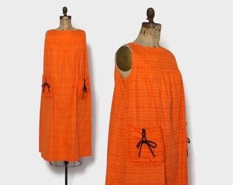 Vintage 60s Laced Up Tent Dress / 1960s Bright Orange Cotton Loose Fit Sun Dress
