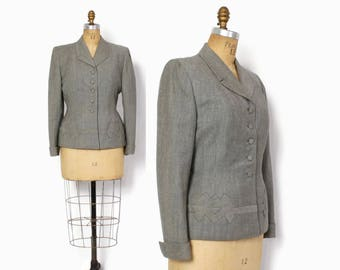 Vintage 40s Tailored BLAZER / 1940s Gray Wool Deco Details Fitted Suit Jacket