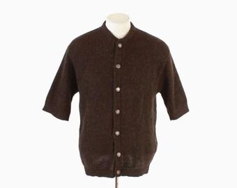 Vintage 60s MEN'S CARDIGAN / 1960s Short Sleeve Brown Mohair Wool Rockabilly Sweater L 44