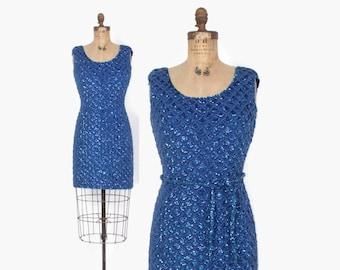 Vintage 60s SEQUIN Dress / 1960s Bright Cobalt Blue Beaded Sequin Wool Knit Cocktail Dress S
