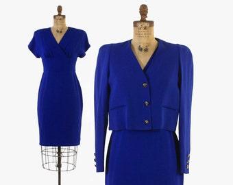 Vintage 80s SONIA RYKIEL DRESS Set / 1980s Cobalt Blue Crepe Dress & Blazer Jacket Suit M