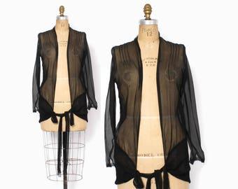 Vintage 20s Silk Jacket / 1920s Black Semi Sheer Georgette Drop Waist Tie Cardigan