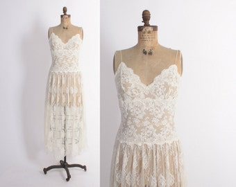 Vintage 70s LACE NIGHTGOWN / 1970s Sheer Ivory Lace Long Night Gown M