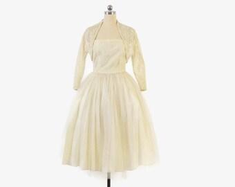 Vintage 50s Wedding DRESS SET / 1950s Strapless Ivory Lace Tea Length Bridal Gown & Bolero Set