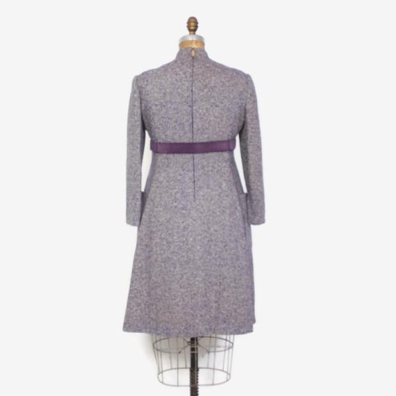 d7c56d41c14 Vintage 60s GEOFFREY BEENE Dress   1960s Purple Tweed Wool Mod