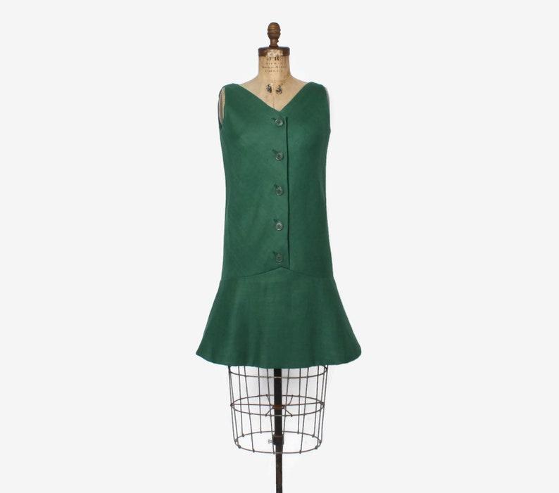 dcea83bcea8 Vintage 60s GEOFFREY BEENE Dress   1960s Mod Green Linen Drop