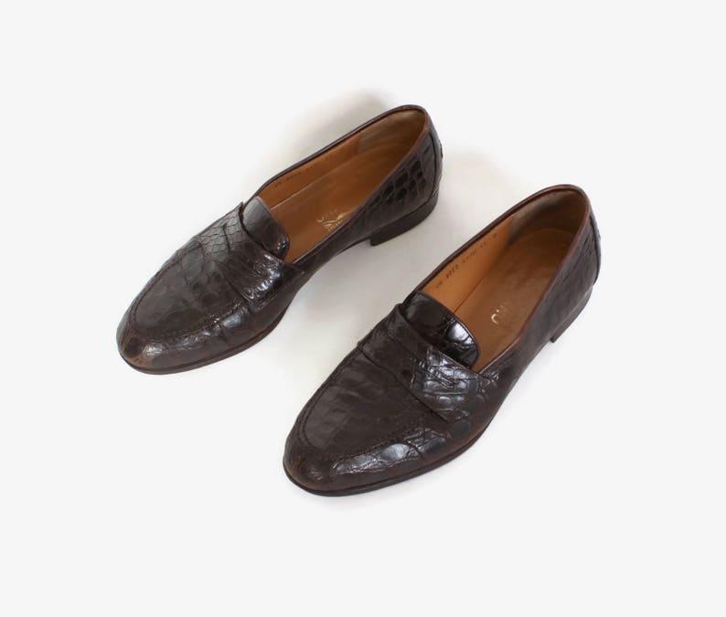 edc4d512236 Vintage 80s FERRAGAMO Shoes   1980s Men s Brown Alligator
