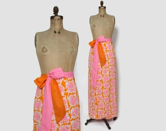 Vintage 60s Novelty Print Crab Skirt / 1960s Vested Gentress Bright Pink & Orange Cotton Wrap Maxi with Bow