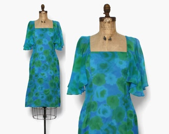 Vintage 60s Floral Cocktail DRESS / 1960s Attached Capelet Silk Crepe Wiggle Dress