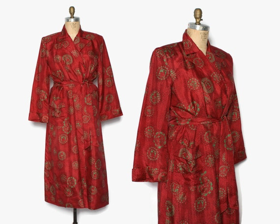 Vintage 40s Red & Green Silk Robe / 1940s Novelty